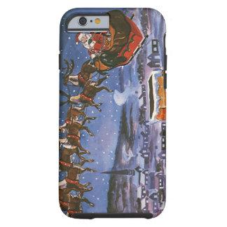 Navidad Papá Noel del vintage que vuela su trineo Funda De iPhone 6 Tough