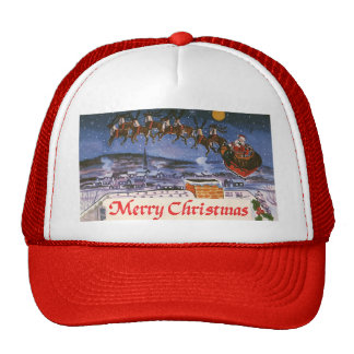 Navidad Papá Noel del vintage que vuela su trineo Gorras