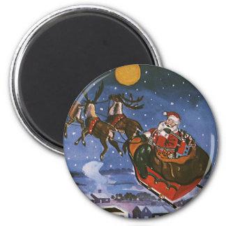 Navidad Papá Noel del vintage que vuela su trineo Imán Redondo 5 Cm