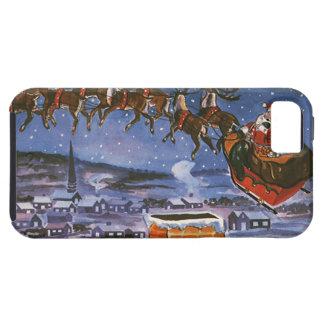 Navidad Papá Noel del vintage que vuela su trineo iPhone 5 Fundas