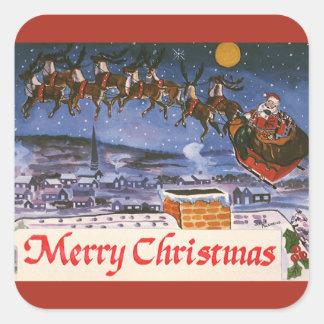 Navidad Papá Noel del vintage que vuela su trineo Pegatina Cuadrada