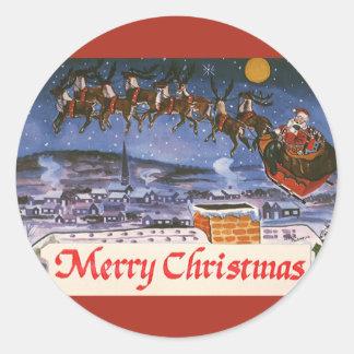 Navidad Papá Noel del vintage que vuela su trineo Pegatina Redonda