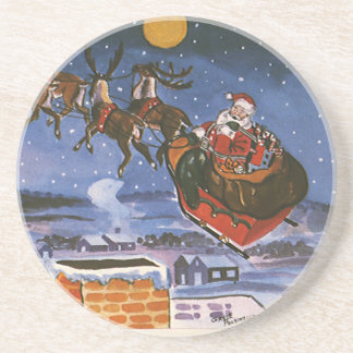 Navidad Papá Noel del vintage que vuela su trineo Posavasos Personalizados