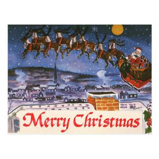 Navidad Papá Noel del vintage que vuela su trineo Postal