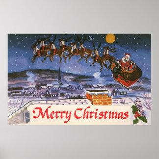 Navidad Papá Noel del vintage que vuela su trineo Póster