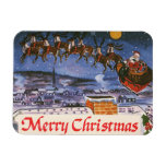 Navidad Papá Noel del vintage que vuela su trineo Rectangle Magnet