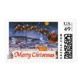 Navidad Papá Noel del vintage que vuela su trineo Sello Postal