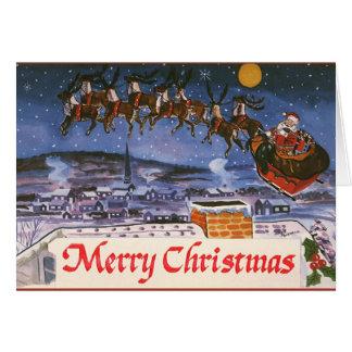 Navidad Papá Noel del vintage que vuela su trineo Tarjeta De Felicitación