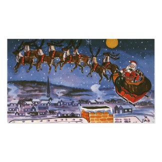 Navidad Papá Noel del vintage que vuela su trineo Tarjetas De Visita