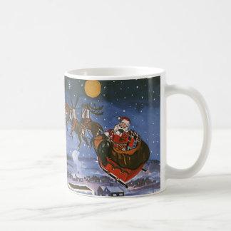 Navidad Papá Noel del vintage que vuela su trineo Taza Clásica