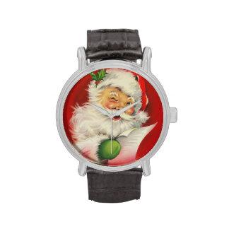 Navidad Papá Noel del vintage Relojes De Pulsera