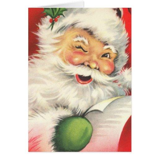 Navidad Papá Noel del vintage Tarjeton