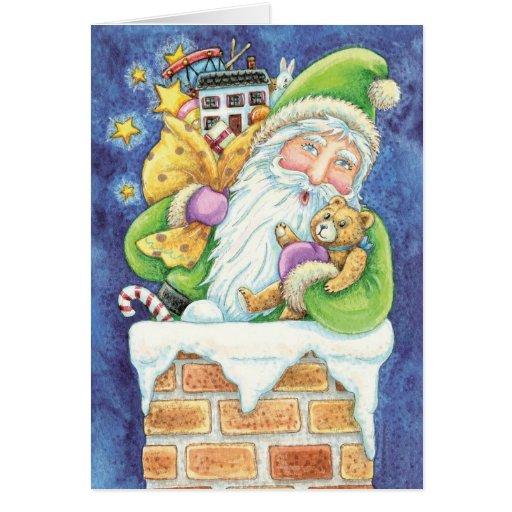 Navidad Papá Noel, nieve del dibujo animado de la Tarjeta Pequeña