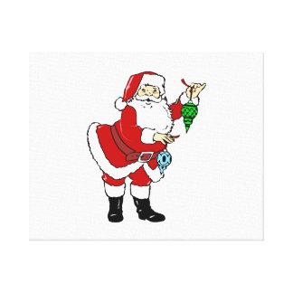 Navidad Papá Noel y ornamentos Impresión De Lienzo