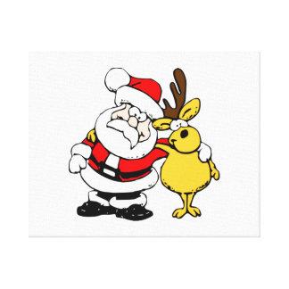 Navidad Papá Noel y reno Lona Estirada Galerías