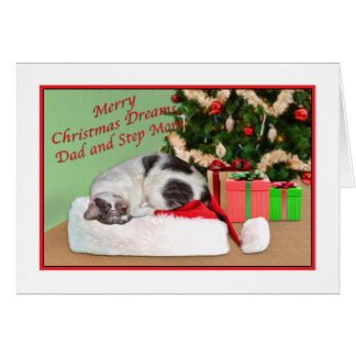 Navidad, papá y mamá del paso, gato el dormir tarjeta de felicitación