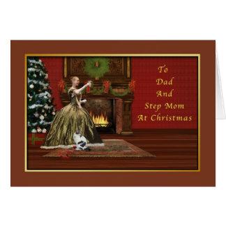 Navidad, papá y mamá del paso, pasada de moda tarjeta de felicitación