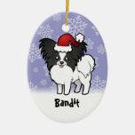 Navidad Papillon (añada su nombre de mascotas) Ornaments Para Arbol De Navidad