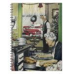 Navidad pasado de moda de la cocina del hogar del  libro de apuntes