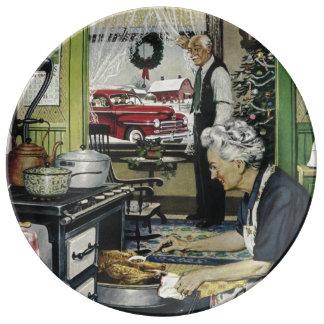 Navidad pasado de moda de la cocina del hogar del platos de cerámica