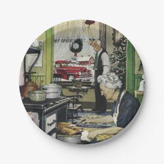 Navidad pasado de moda de la cocina del hogar del platos de papel