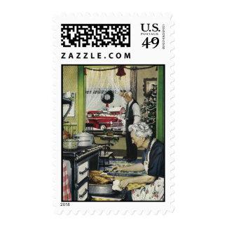Navidad pasado de moda de la cocina del hogar del sello