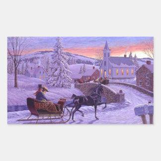 Navidad pasado de moda del vintage rectangular pegatina