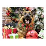 Navidad - pastor alemán - Thor Tarjeta Postal