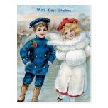 Navidad, patinaje de hielo de los niños postales