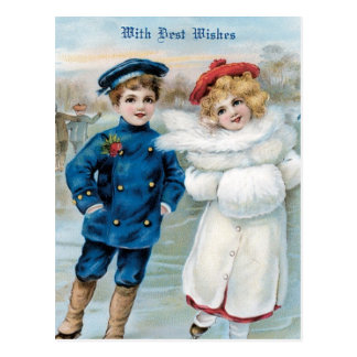 Navidad, patinaje de hielo de los niños tarjetas postales