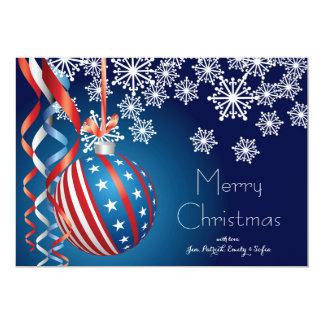 """Navidad patriótico azul invitación 5"""" x 7"""""""
