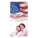 Navidad patriótico de la bandera americana tarjeta personal con foto