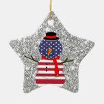 Navidad patriótico del brillo del muñeco de nieve  adornos de navidad
