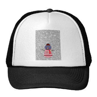 Navidad patriótico del brillo del muñeco de nieve  gorras de camionero
