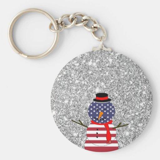 Navidad patriótico del brillo del muñeco de nieve  llaveros personalizados