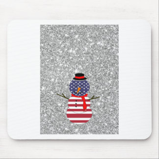 Navidad patriótico del brillo del muñeco de nieve tapete de raton