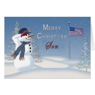 Navidad - patriótico - hijo - muñeco de nieve/el tarjeta de felicitación