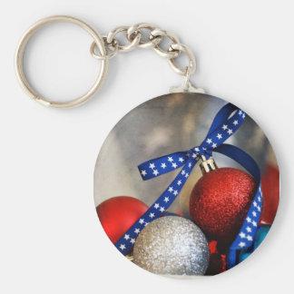 Navidad patriótico llavero redondo tipo pin