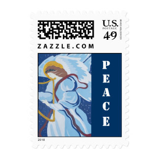 Navidad, paz, ángel en azul con la arpa envio