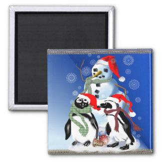 Navidad Penquin e imanes del muñeco de nieve Imán Cuadrado