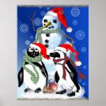 Navidad Penquin y poster del muñeco de nieve