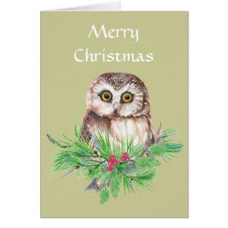 Navidad pequeño búho lindo general, saludo del páj tarjeta pequeña