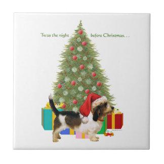 Navidad pequeno de Griffon Vendeen del afloramient Azulejo Cuadrado Pequeño