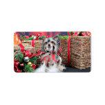 Navidad - perro con cresta chino - Sheeba Etiqueta De Dirección