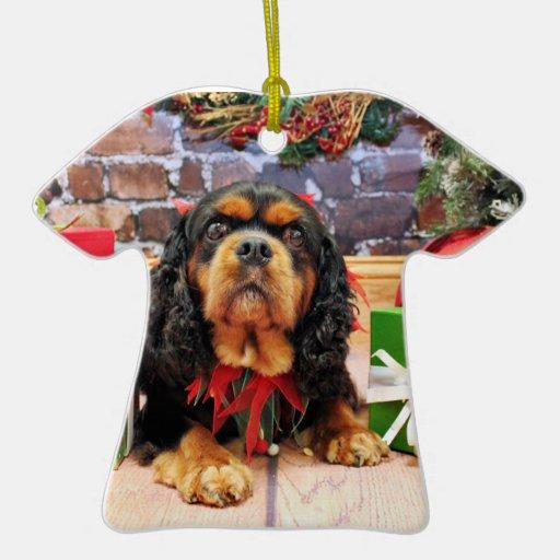 Navidad - perro de aguas de rey Charles arrogante Adorno Navideño De Cerámica En Forma De Playera