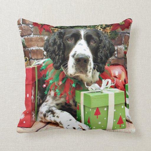 Navidad - perro de aguas de saltador inglés - Barn Almohada