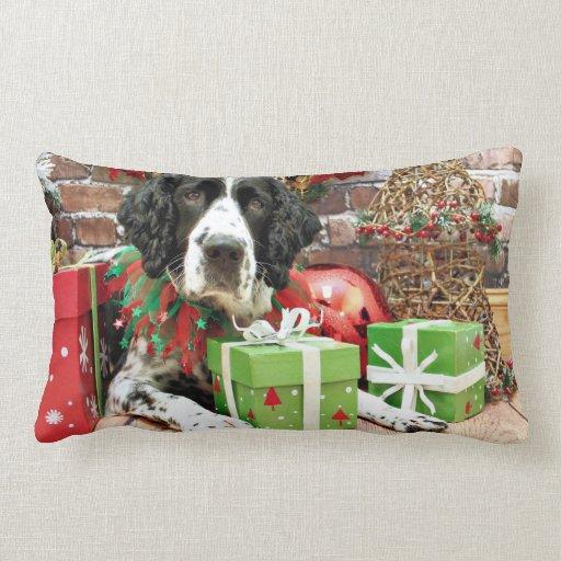 Navidad - perro de aguas de saltador inglés - Barn Cojin