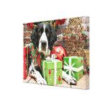 Navidad - perro de aguas de saltador inglés - Barn Impresiones En Lona Estiradas
