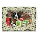 Navidad - perro de aguas de saltador inglés - Barn Tarjetas