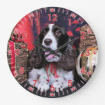 Navidad - perro de aguas de saltador inglés - Chlo Relojes De Pared